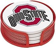 Thirstystone Stoneware Drink Coaster Set with Holder, Ohio State University