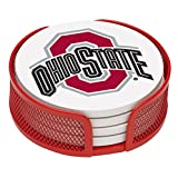 Thirstystone VOHST-HA24 Stoneware Drink Coaster Set with Holder, Ohio State University