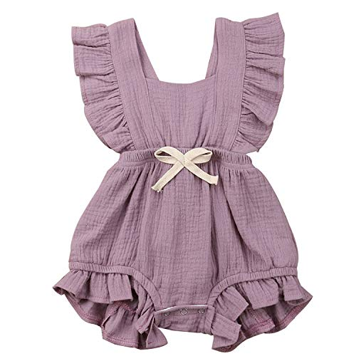 Trendypie Newborn Infant Baby Girl Romper Bodysuit Sleeveless Cotton Jumpsuit Ruffle Backless Bowknot Sunsuit Summer One-Piece Outfit Clothes 0-24M