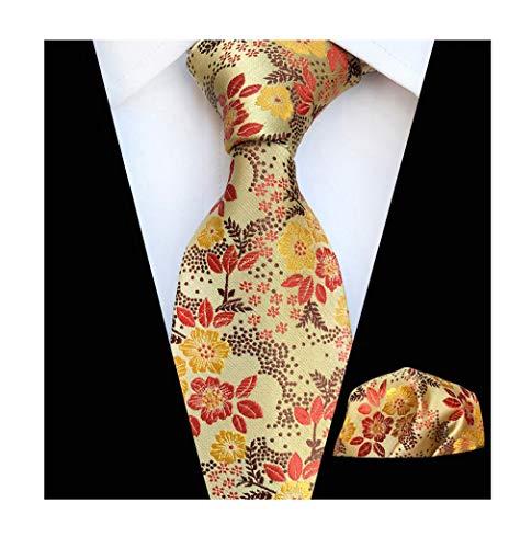 - Men's Yellow Brown Self Ties Floral Leaf Silk Paisley Party Dress Suit Neckties