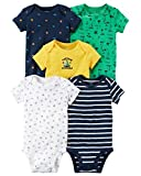 Carter's Baby Boys 5 Pack Bodysuit Set, Cap