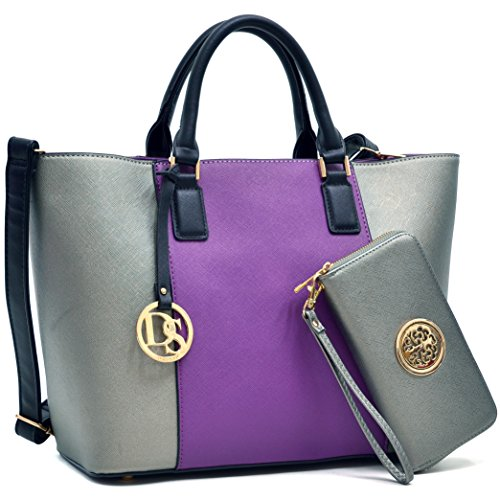 MMK Collection Newest Designer Fashion Women Satchel/Tote handbags with Free Matching Wallet(6417)~Designer Purse with Wristlet Wallet (6417(168)purple/pewter)