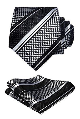 HISDERN Men's Stripe Tie Handkerchief Jacquard Woven Classic Men's Necktie & Pocket Square Set ()