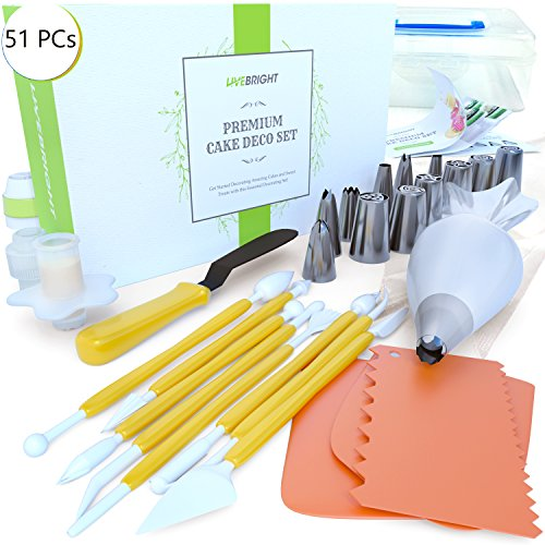 Cake Decorating Kit – 51 Pieces. Best Stainless Steel Bakery Supplies Set - 6 Russian & 6 Cone Piping Tips, Spatula, Fantang Tool, Scraper, Tricolor & Cone Coupler, Cupcake Corer, Bag set, Guidebook