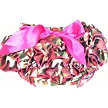 Camo Satin Baby Bloomers Diaper Cover Camouflage - Hot Pink Camo