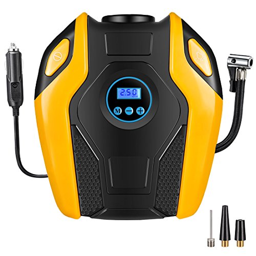 Breezz Air Compressor Pump, Digital Tire Inflator, Portable 12V DC Auto Air Pump Up to 150 PSI for Car, Bicycle, Air Mattress and Other Inflatables