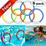 Mazuly [ 2018 NEW ] 6 Pack Underwater Swimming Diving Toys Diving Rings Set Kids Adult Colorful Water Fun Game Toys for Pool Summer Travel School Beach Outdoors Gifts for Toddlers Boys Girls Men Women