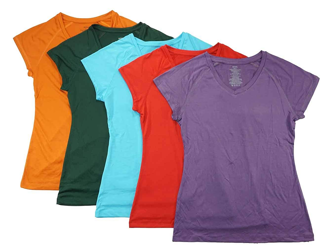 Aviva Womens Five-Pack Assorted Color Dry Fit Active Tops