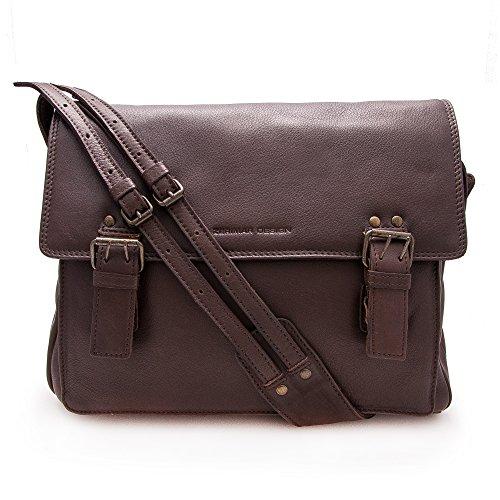 Zerimar Bolso maletín bandolera fabricado en piel vacuna alta calidad Múltiples compartimentos Medidas: 30x35x8 Marron