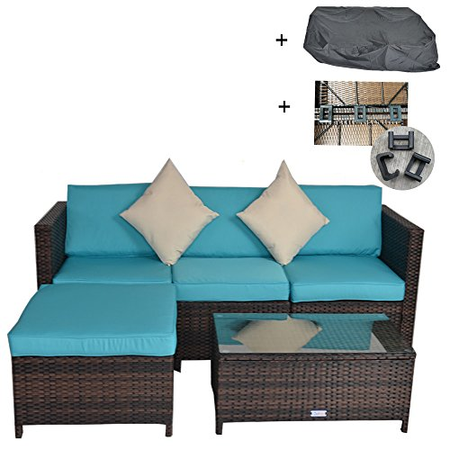 Outdoor Rattan Wicker Sofa Set Garden Patio Furniture Cushioned Sectional Conversation Sets-Easy Assembled(Brown,5 (5 Piece Garden Patio Furniture)