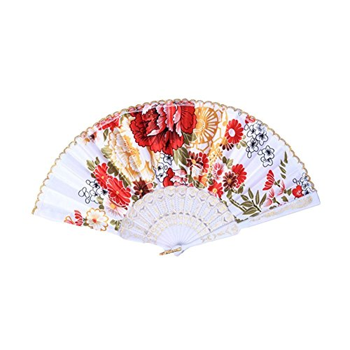 Topshop Retro Favor Pocket Fan Folding Hand Held Fan Floral Fabric Wedding Dance (White)