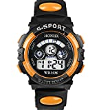 UPLOTER 2016 Boy Waterproof Digital LEDQuartz Alarm Date Children Sports Wrist Watch Orange