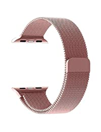 38mm Stainless Steel Milanese Loop Replacement Smart Watch Band with Magnetic Closure Clasp for Apple Watch (Rose Gold) By Shanhai