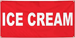 Vinyl Banner Multiple Sizes Ice Cream Red Background Food Bar Restaurant Truck Retail Outdoor Weatherproof Industrial Yard Signs 4 Grommets 12x30Inches
