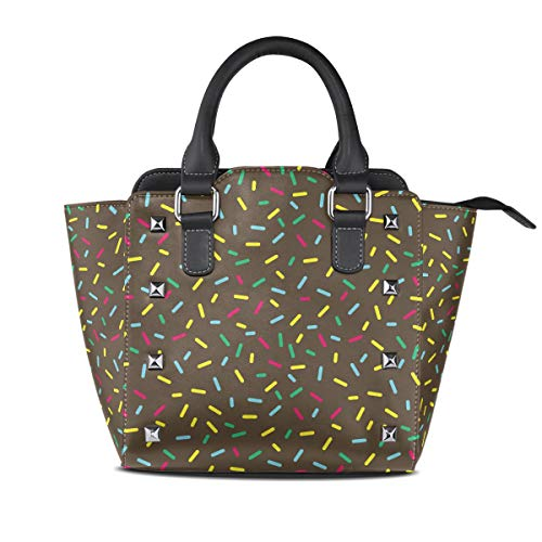 Warm Happy Black Glazed Donut Women Top Handle Satchel Handbags Shoulder Bag Tote Purse Messenger Bags