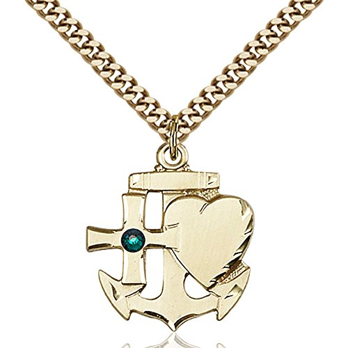 Gold Filled Faith Hope & Charity Pendant with 3mm May Green Swarovski Crystal 7/8 x 3/4 inches with Heavy Curb Chain by Bonyak Jewelry Saint Medal Collection