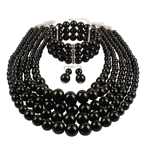 r Pearl Strand Necklace Bracelet and Earring Imitate Black Pearl Jewelry Set ()