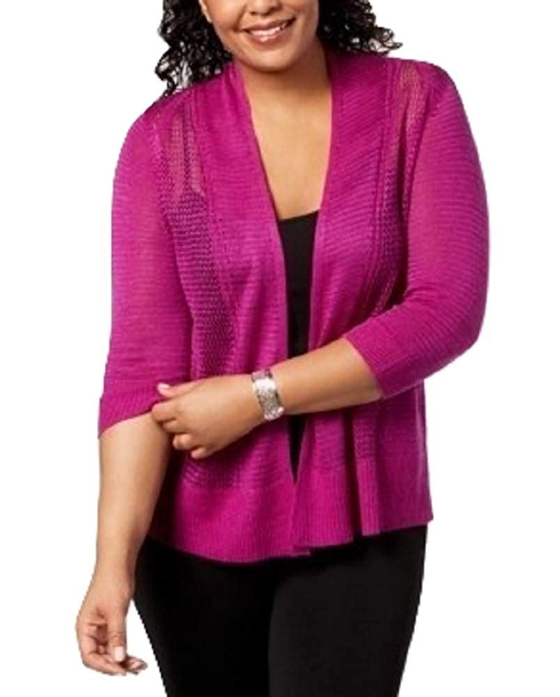 Alfani Plus Size Mixed-Stitch Open-Front Cardigan Fuchsia 0X