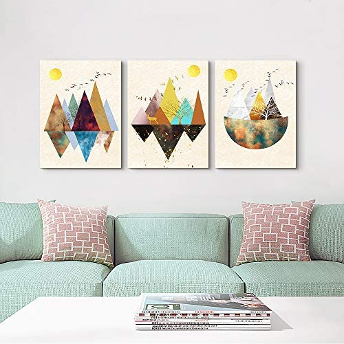 3 Piece abstract Canvas Painting Wall Art for Living Room Bathroom Wall Decoration Gold Abstract Geometry Mountain Bedroom Wall decor Office Kitchen Home Decoration landscape Watercolor Painting
