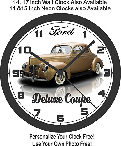 1940 FORD DELUXE COUPE WALL CLOCK-Choose 1 of 3