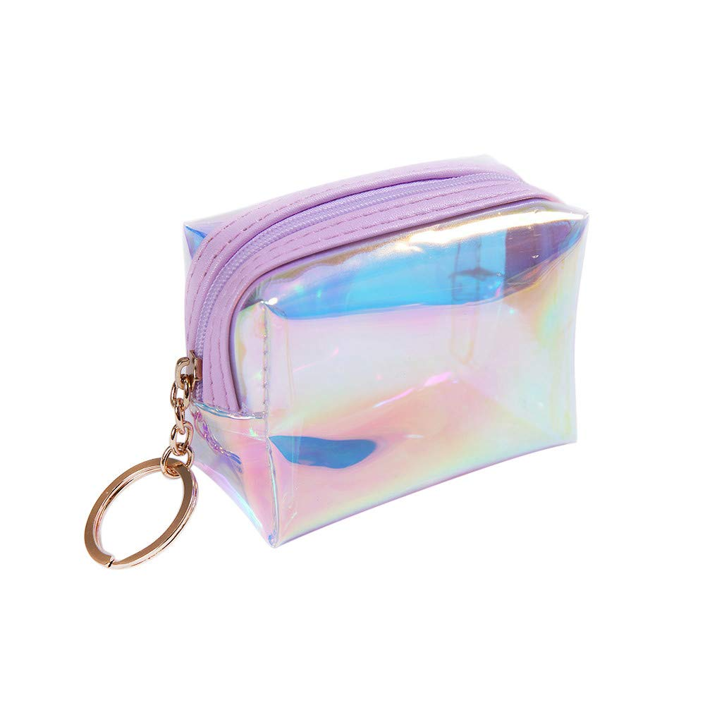 Moonite ????Women Holographic Wallet Clear Purse Transparent Hand Bag Zipper Cosmetic Bag Toiletry Pack (Purple)