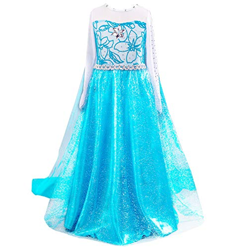 Snow Queen Princess Elsa Costumes Birthday Party Halloween Costume Dress Up for Little Girls with Wig,Crown,Mace,Gloves Accessories 3-12 Years(Blue,Age:8-10 Years Height 55