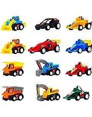 Coches de Juguetes Vehiculos Miniature Excavadora Camion Juguete Carrera Construccion Juego para Niños 3 4 5 (12 Pedazos)
