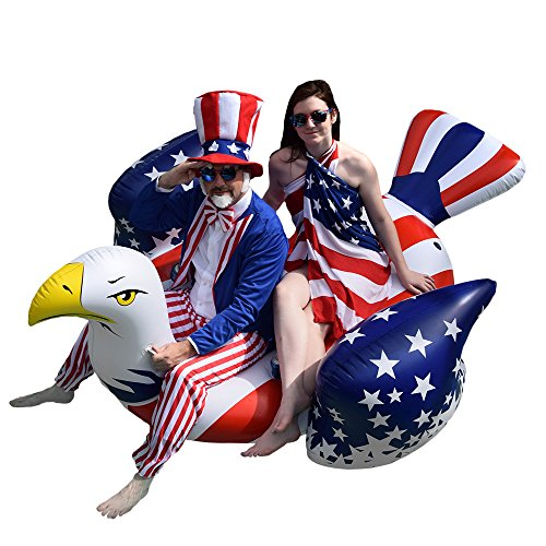 Colonel Pickles Novelties Giant Inflatable American Bald Eagle - Premium Patriotic Pool Floats Rafts & Swimming Pool Toys