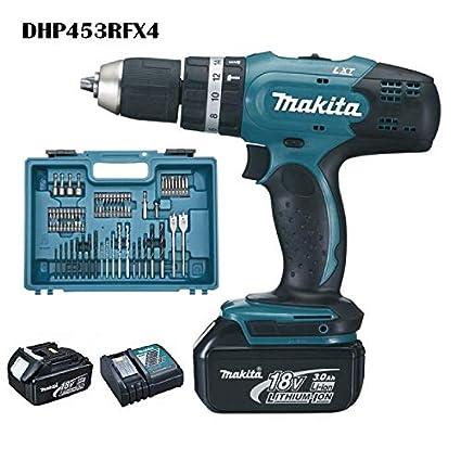 Makita DHP453RFX4 Perceuse visseuse à percussion DHP453Z + 2 batteries 18V 3Ah Li-ion + 74 accessoires + coffret de transport