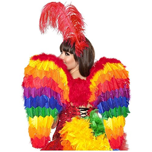 [Rainbow Wings Feather Parrot Bird Carnival Costume Accessory Adult Halloween] (Parrot Costume Wings)
