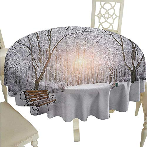 Zodel Oil-Proof and Leak-Proof Tablecloth Winter Snowy Leafless Trees and Benches in The City Park Sunset Woodland Outdoors Soft and Smooth Surface D60 Suitable for picnics,queuing,Family -