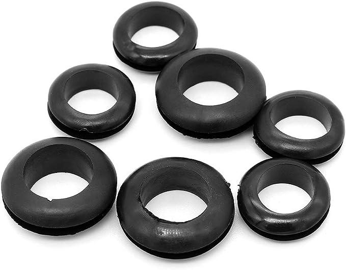 Yuhtech Gummit/ülle Set 125 Pcs Schwarze Gummidichtung f/ür Schutz von Dr/ähten Steckern und Kabeln