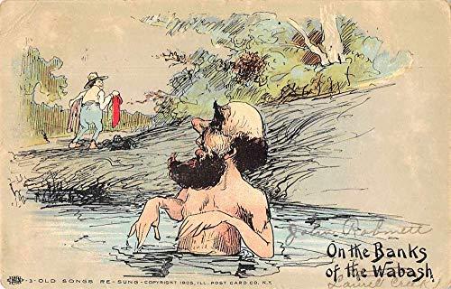 "Wabash West Virginia Greetings Man Swimming""On the Banks"" Postcard JA4742253"