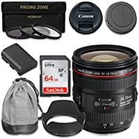Canon EF 24–70mm f/4L IS USM Lens with Extra LP-E6 Battery + SanDisk 64gb SDHC Memory Card for Canon 7D Mark II, 70D, 80D, 5D, 5D MKIII, MKIV, 5DS, 5DS R