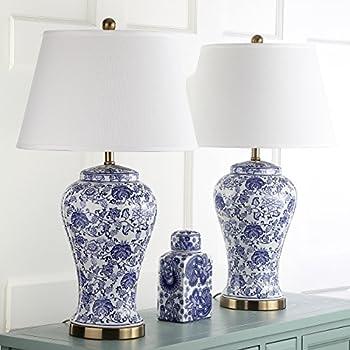 Asian Table Lamp Temple Porcelain Jar Blue Floral White