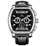 CENXINO Men's 7017 Specialty Tonneau Designer fashion Black Dial Chronograph Watch with Black Textured Calfskin Leather Strap