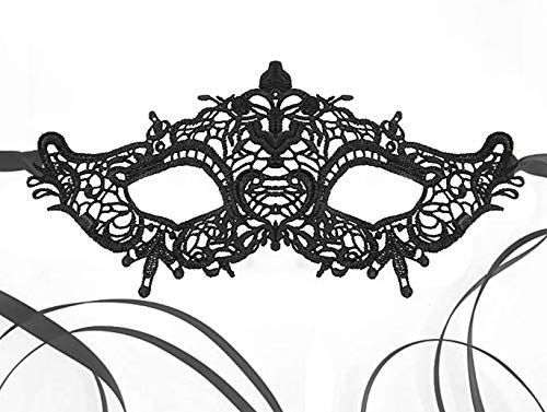 Venetian Queen Black Lace Mask for Masquerade Prom