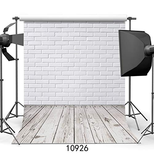 SJOLOON 5x7ft Vinyl Photography Background White Brick Wall Wood with Floor Photo Backdrop Studio Props 10926