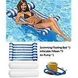 Kayla Water Floating Hammock Portable Swimming Pool Mat Inflatable Pool Lunger Float Hammock Pool Air Mat Pool Float Recliner Inflatable Rafts Green