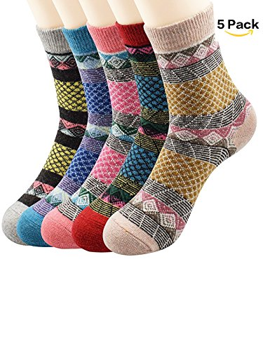 Easy 4 Person Costumes (Zando Thin Breathable Casual Crew Warm Soft Cabin Socks for Women Teens Winter Autumn Knitting Printed Wool Sock 3-5 Pack 5 Pack Grid One Size)