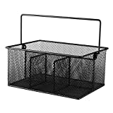 Utensil Mesh Caddy for Kitchen Condiments and Silverware – 4 Compartments - Black Flatware Organizer - Holder for Spoons, Knives, Forks, Napkins, & More for Dining & Picnic - By Ideal Traditions