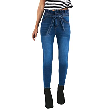 Ansenesna Vaqueros CeñIdos De Tiro Alto Mujer Cintura Alta Tie Up Button Hole Denim Jeans Slim Tight Pants Jeans Pantalones