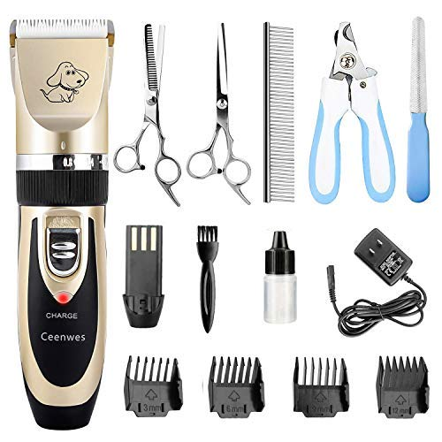Ceenwes Dog Clippers Low Noise Pet Clippers Rechargeable Dog Trimmer Cordless Pet Grooming Tool Professional Dog Hair Trimmer with Comb Guides Scissors Nail Kits for Dogs Cats & Other Hairy Animals (Best Pet Hair Clippers For Dogs)