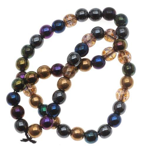 Beadaholique Czech Glass Druk 50-Piece Round Beads, 6mm, Heavy Metal Mix (Czech Glass 6mm Druk Beads)