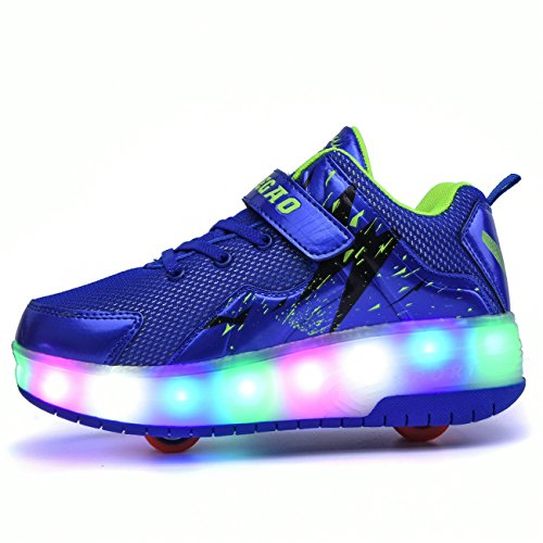 Light Sources Wheels Shoes Blue LED Sneakers two Chic Wheeled Roller Boys Girls Rechargeable up Skate ZZIqw