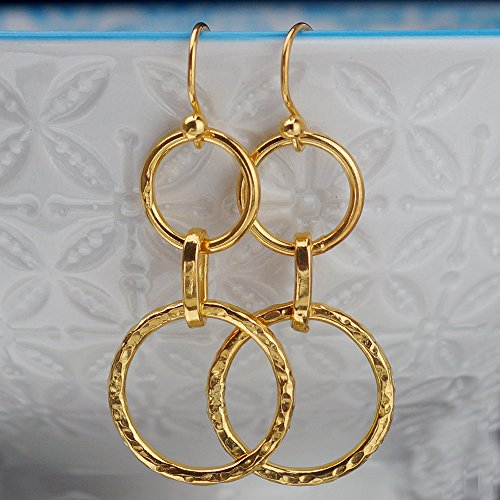Sterling Silver Double Hoop Charm Hook Earrings 24k Gold Plated Handcrafted Turkish Fine Jewelry Women Earrings Roman Art Design (Double Charm Hoop)