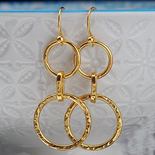 Sterling Silver Double Hoop Charm Hook Earrings 24k Gold Plated Handcrafted Turkish Fine Jewelry Women Earrings Roman Art Design