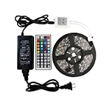 WenTop Led Strip Lights Kit DC 12v UL Listed Power Supply Non-waterproof SMD 5050 16.4 Ft (5M) 300leds RGB 60leds/m Led Tape Lighting with 44key Remote for TV, Ceiling Fixture, PC, Kitchen Lighting