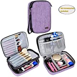 Teamoy Travel Makeup Brush Case(up to 8.8'), Professional Makeup Train Organizer Bag with Handle Strap for Makeup Brushes and Makeup Essentials-Medium, Purple(No Accessories Included)