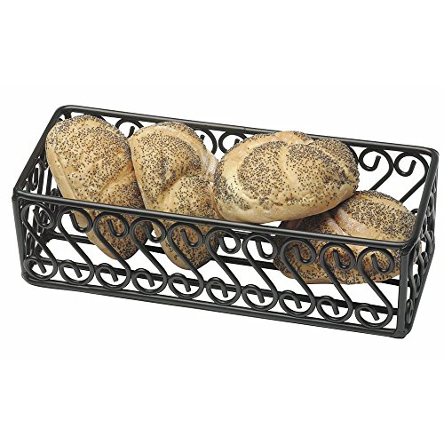 "American Metalcraft (SFBB5312) 5"" x 12"" Rectangular Wrought Iron Scroll Basket"